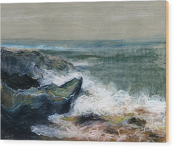 Nature Beach Landscape Of Sea In Storm Blue Green Water White Wave Breaks On Rock Clouds In Sky  Wood Print by Rachel Hershkovitz