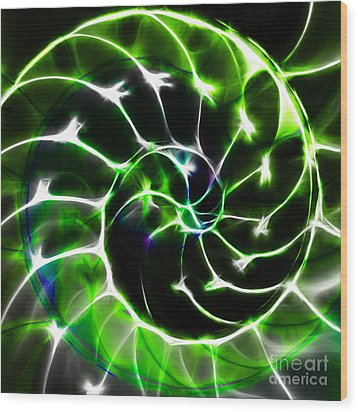 Nautilus Shell Ying And Yang - Electric - V1 - Green Wood Print by Wingsdomain Art and Photography