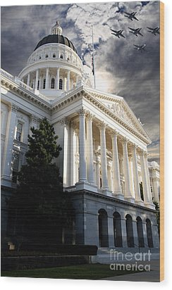 Navy Blue Angels Flying Over The California State Capitol . 7d11771 Wood Print by Wingsdomain Art and Photography