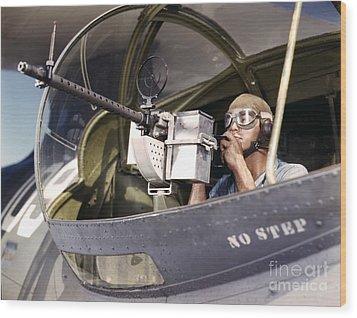 Navy War Bird 30 Calibre Machine Gun Wood Print by Padre Art