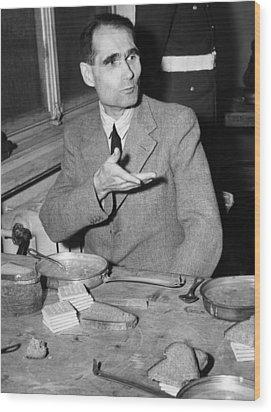 Nazi War Criminal Rudolph Hess Eating Wood Print by Everett