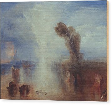 Neapolitan Fisher-girls Surprised Bathing By Moonlight Wood Print by Joseph Mallord William Turner