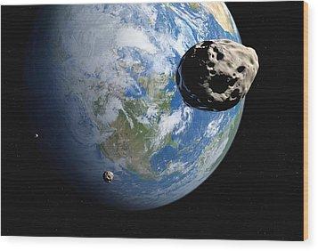 Near-earth Asteroids, Artwork Wood Print by Detlev Van Ravenswaay
