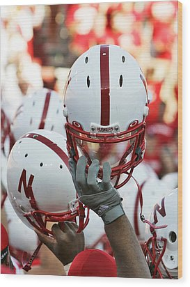Nebraska Football Helmets  Wood Print by University of Nebraska