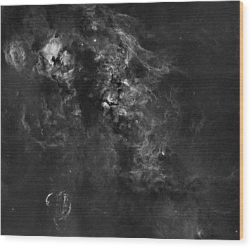 Nebulosity In The Cygnus Constellation Wood Print by Andre Van der Hoeven