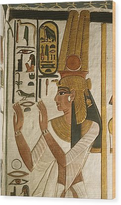 Nefertari Tomb Scenes, Valley Wood Print by Kenneth Garrett