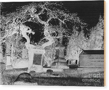 Negative Image Of Cemetary Wood Print by JSM Fine Arts John Malone