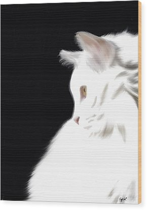Negative Space Kitty Wood Print by Stacy Parker