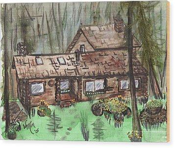 Neighbors Cabin Montana Wood Print by Windy Mountain