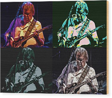 Neil Young Pop Wood Print by Tommy Anderson