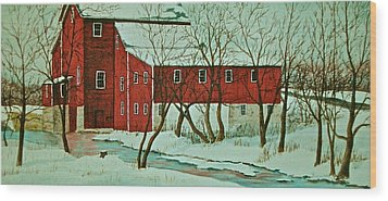 Nelsonville Mill Wood Print by Carolyn Rosenberger