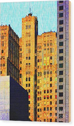 Neo-gothic Pacbell Building In San Francisco Wood Print by Wingsdomain Art and Photography