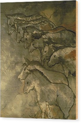 Neolithic Horses Wood Print by John Connaughton