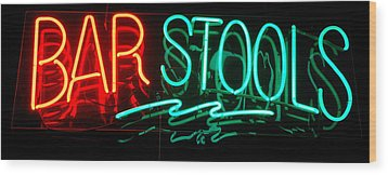 Neon Bar Stools Wood Print by Steven Milner