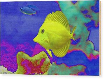 Neon Fish Wood Print