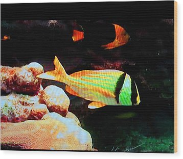 Neon Fish Wood Print by Val Oconnor