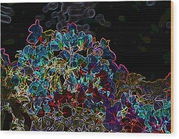 Neon Flowers Wood Print