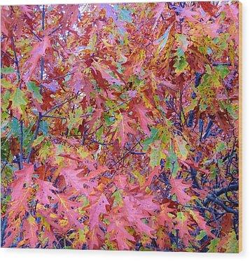Neon Leaves Wood Print