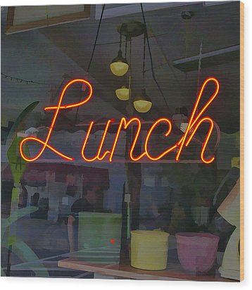 Neon Lunch Sign Wood Print by Michael Flood