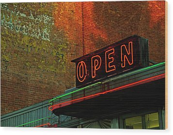 Neon Open Sign On Old Diner Hotel Wood Print by Matt Champlin