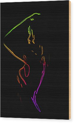 Neon Shower Girl Wood Print by Steve K