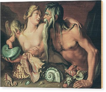 Neptune And Amphitrite Wood Print by Jacob II de Gheyn