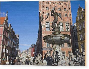 Neptune Fountain In Gdansk Wood Print by Artur Bogacki