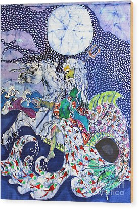 Neptune Rides The Sea Wood Print by Carol Law Conklin