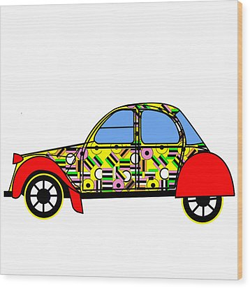 Nerds Car - Virtual Cars Wood Print by Asbjorn Lonvig
