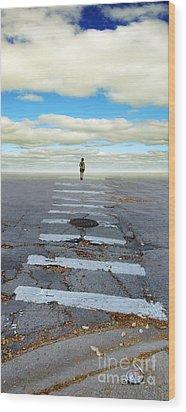 Never Ending Crosswalk Wood Print by Jill Battaglia