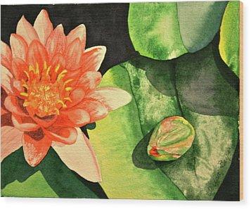 Wood Print featuring the painting New Beginnings by Teresa Beyer
