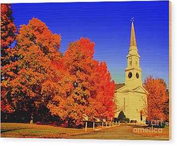 New England Church  Wood Print