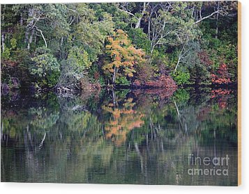 New England Fall Reflection Wood Print by Carol Groenen