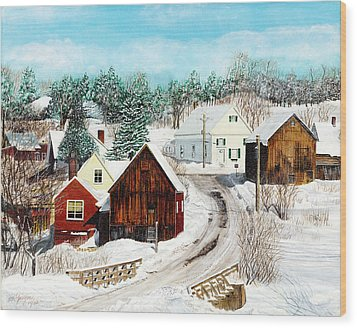 Wood Print featuring the painting New England Winter by Stuart B Yaeger