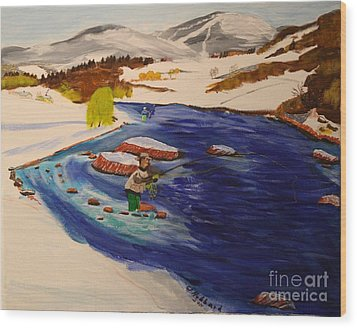New Hampshire Springtime - Skiing And Trout Fishing In The White Mountains Wood Print by Bill Hubbard