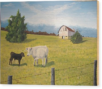 Wood Print featuring the painting New Kid On The Block by Norm Starks