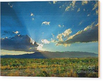 New Mexico Desert Wood Print by Betty LaRue