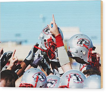 New Mexico Football Huddle Wood Print by University of New Mexico Athletics