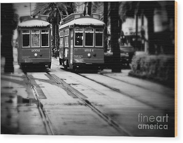 New Orleans Classic Streetcars. Wood Print by Perry Webster