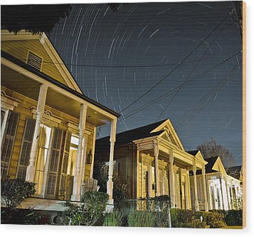 Wood Print featuring the photograph New Orleans Star Trails by Ray Devlin