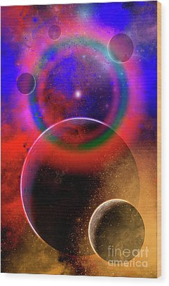 New Planets And Solar Systems Forming Wood Print by Mark Stevenson