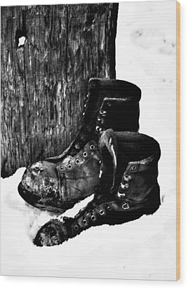 New Shoe Drop Off Wood Print by Jerry Cordeiro