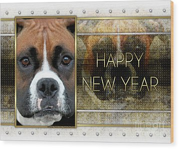 New Year - Golden Elegance Boxer Wood Print by Renae Laughner