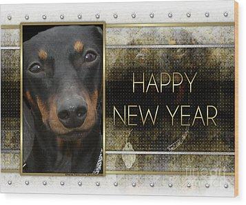 New Year - Golden Elegance Dachshund Wood Print by Renae Laughner