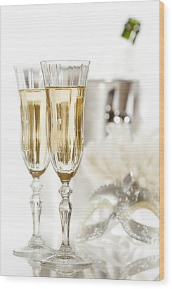 New Year Champagne Wood Print by Amanda Elwell