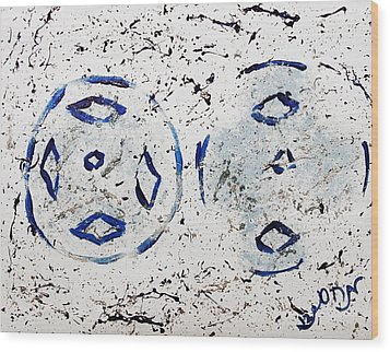Wood Print featuring the painting New Year Rolls Around With Abstracted Splatters In Blue Silver White Representing Snow Excitement by M Zimmerman