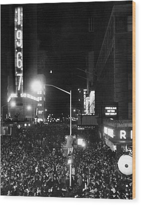 New Years Eve Celebration In Times Wood Print by Everett