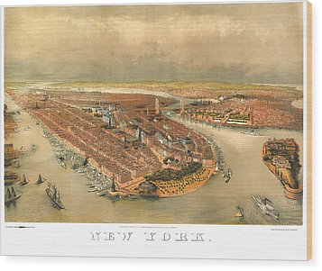 New York 1874 Wood Print by Donna Leach
