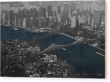 New York Aerial Wood Print by Ms Judi