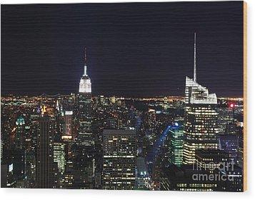 New York At Night Wood Print by Alan Clifford